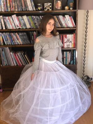 Girl in a hoop skirt